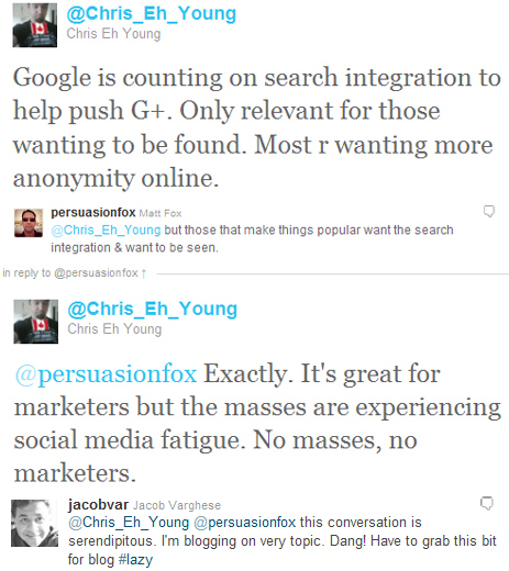 Twitter conversation about social media fatigue